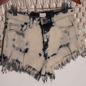 Sneak Peek acidwashed highrise distressed shorts